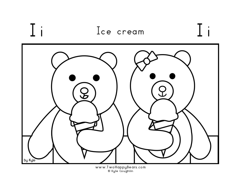 Coloring page for learning the letter I, with a picture of Fluffy and Ivy eating ice cream, in a large landscape view, in free printable PDF format.