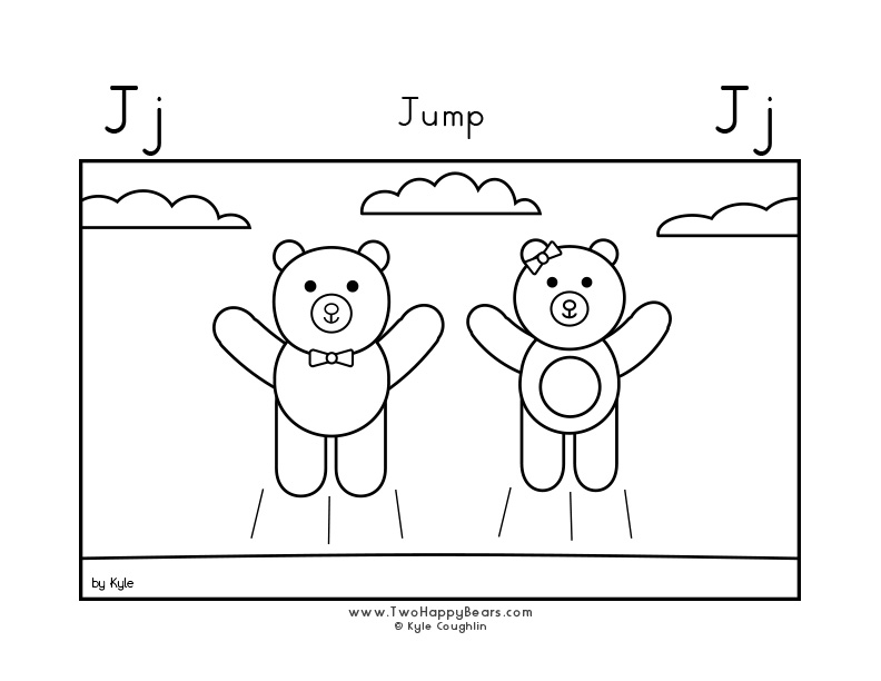 Coloring page for learning the letter J, with a picture of Fluffy and Ivy jumping, in a large landscape view, in free printable PDF format.