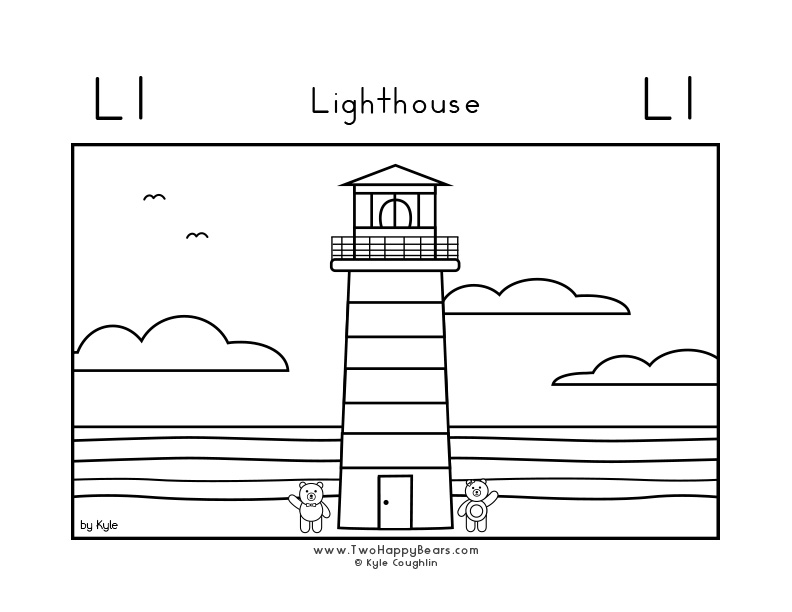 Coloring page for learning the letter L, with a picture of Fluffy and Ivy at a lighthouse, in a large landscape view, in free printable PDF format.