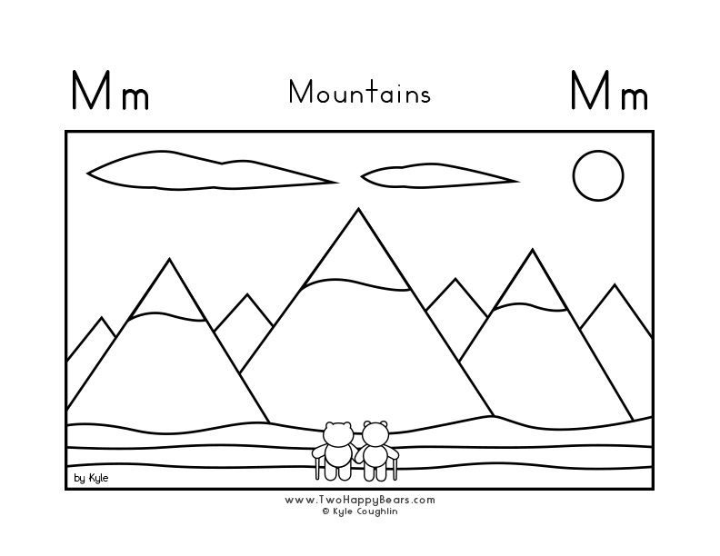 Coloring page for learning the letter M, with a picture of Fluffy and Ivy in front of mountains, in a large landscape view, in free printable PDF format.