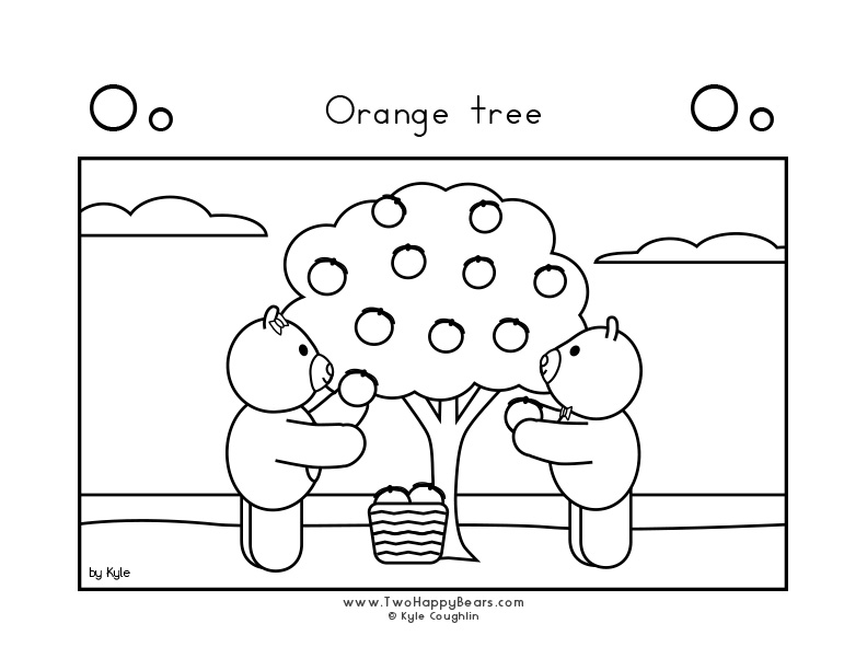 Coloring page for learning the letter O, with a picture of Fluffy and Ivy picking oranges, in a large landscape view, in free printable PDF format.