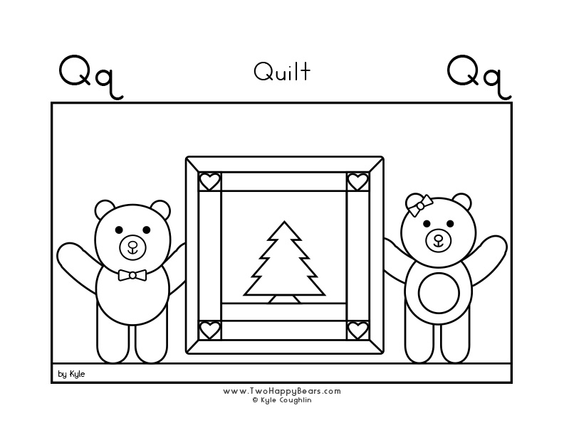 Coloring page for learning the letter Q, with a picture of Fluffy and Ivy quietly sleeping under their quilts, in a large landscape view, in free printable PDF format.