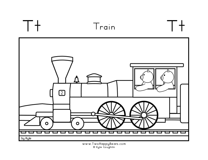 Coloring page for learning the letter T, with a picture of Fluffy and Ivy on a train, in a large landscape view, in free printable PDF format.
