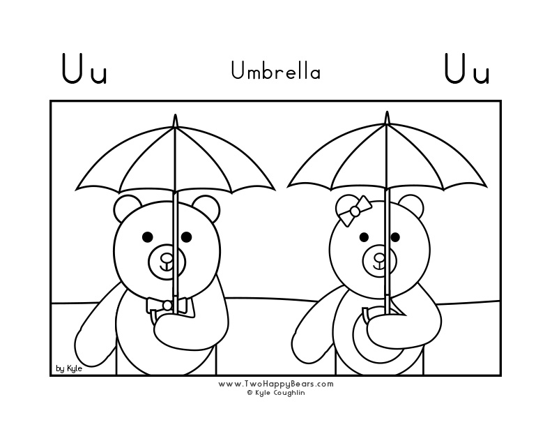 Coloring page for learning the letter U, with a picture of Fluffy and Ivy holding their umbrellas, in a large landscape view, in free printable PDF format.