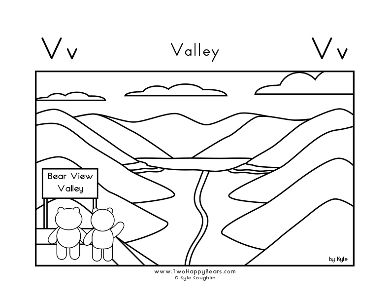 Coloring page for learning the letter V, with a picture of Fluffy and Ivy looking at a valley, in a large landscape view, in free printable PDF format.