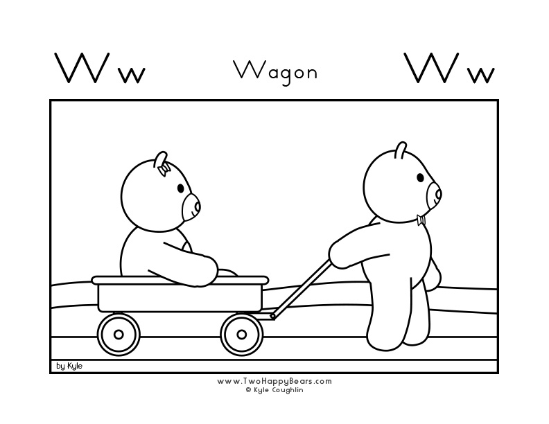 Coloring page for learning the letter W, with a picture of Fluffy pulling Ivy in a wagon, in a large landscape view, in free printable PDF format.