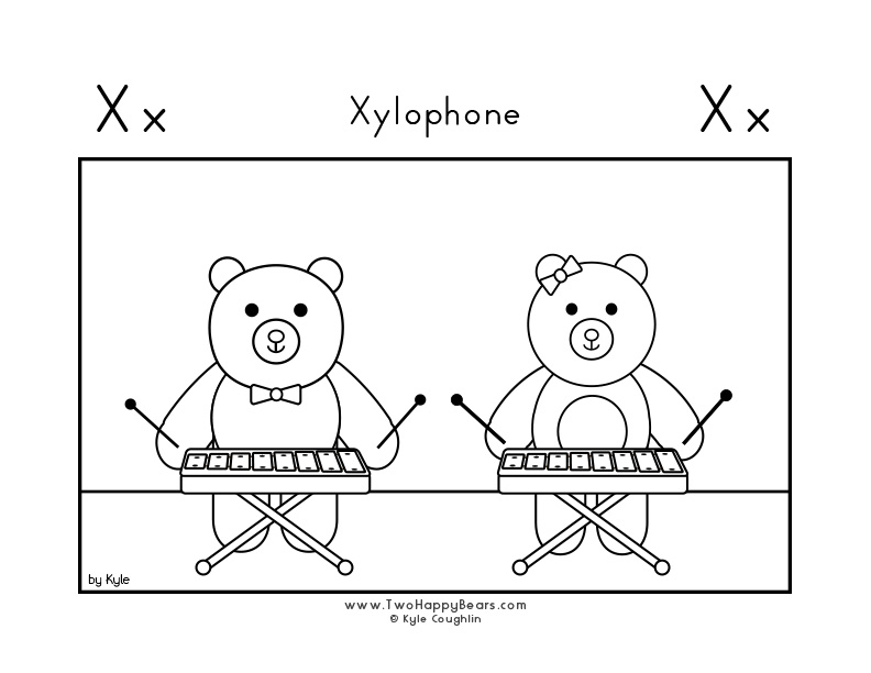 Coloring page for learning the letter X, with a picture of Fluffy and Ivy playing the xylophone, in a large landscape view, in free printable PDF format.