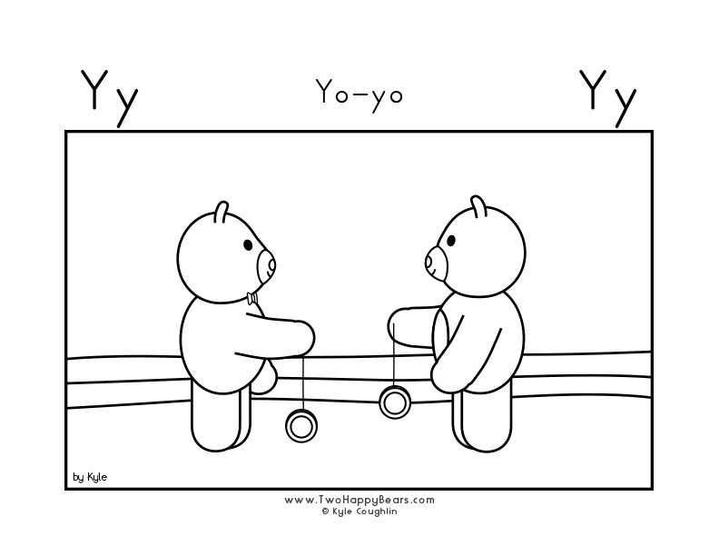 Coloring page for learning the letter Y, with a picture of Fluffy and Ivy playing with their yo-yos, in a large landscape view, in free printable PDF format.