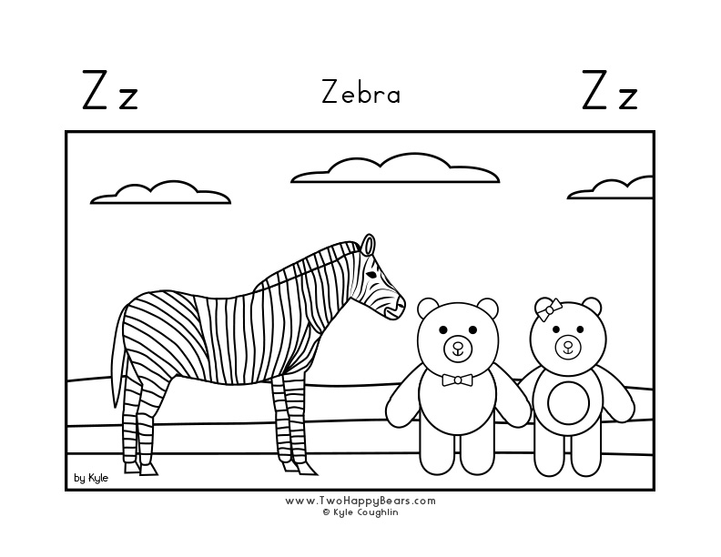 Coloring page for learning the letter Z, with a picture of Fluffy and Ivy visiting a zebra, in a large landscape view, in free printable PDF format.