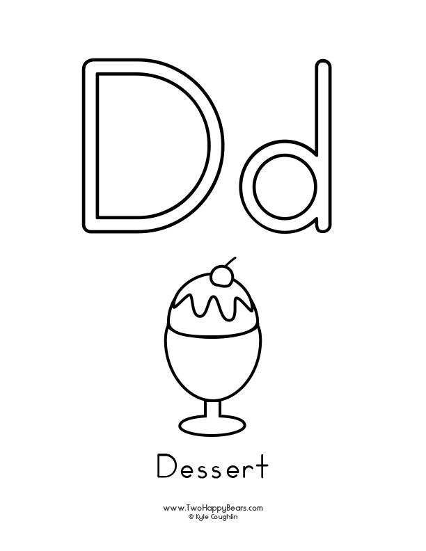 Free printable coloring page for the letter D, with upper and lower case letters and a picture of a dessert to color.