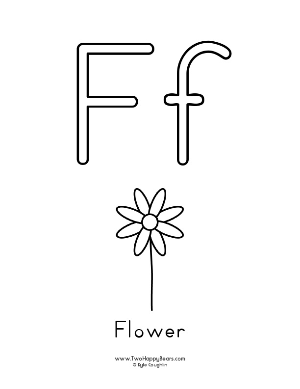 Free printable coloring page for the letter F, with upper and lower case letters and a picture of a flower to color.