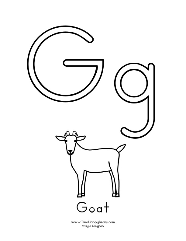 Free printable coloring page for the letter G, with upper and lower case letters and a picture of a goat to color.
