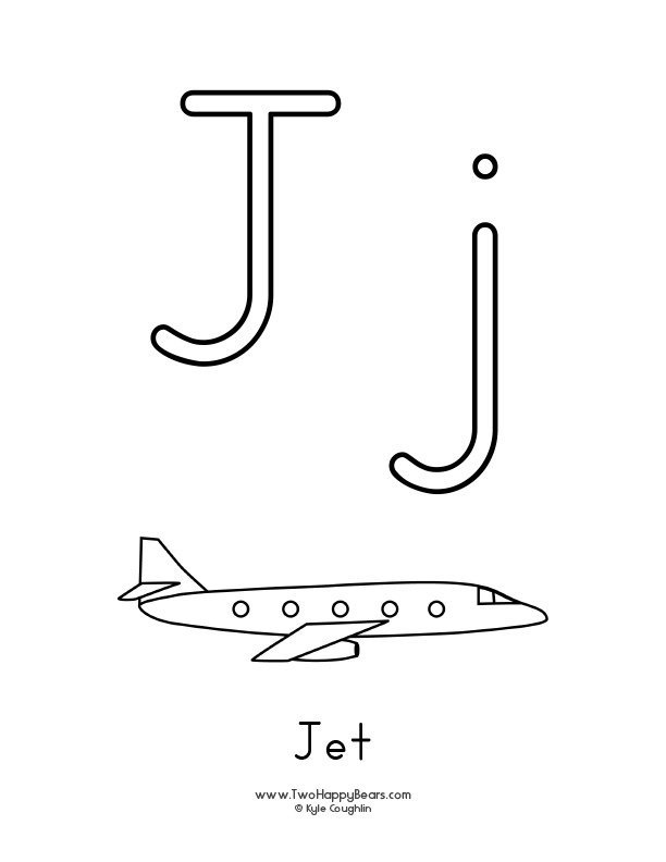Free printable coloring page for the letter J, with upper and lower case letters and a picture of a jet to color.