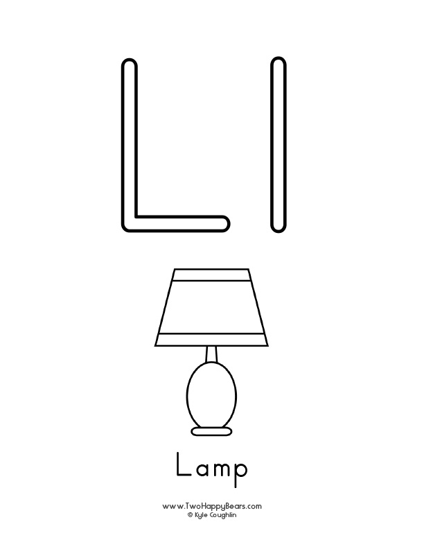 Free printable coloring page for the letter L, with upper and lower case letters and a picture of a lamp to color.