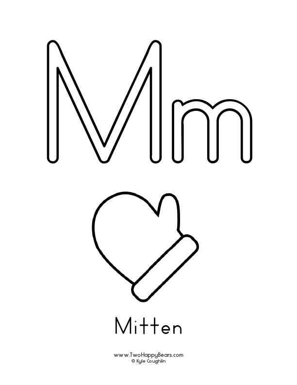 Free printable coloring page for the letter M, with upper and lower case letters and a picture of a mitten to color.