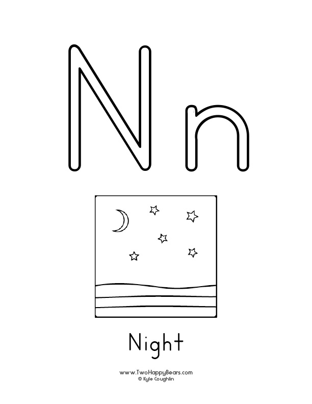 Free printable coloring page for the letter N, with upper and lower case letters and a night time picture to color.