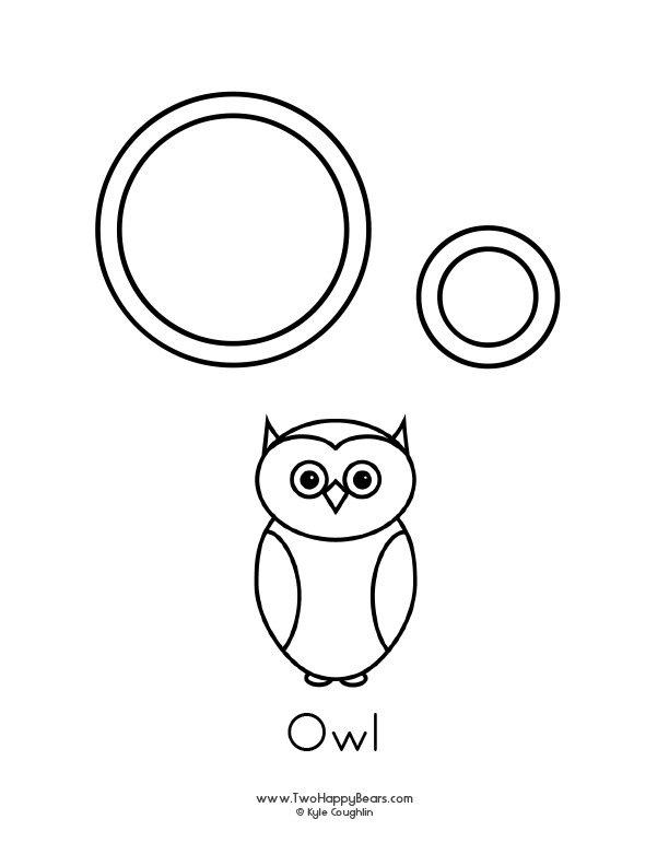 Free printable coloring page for the letter O, with upper and lower case letters and a picture of an owl to color.