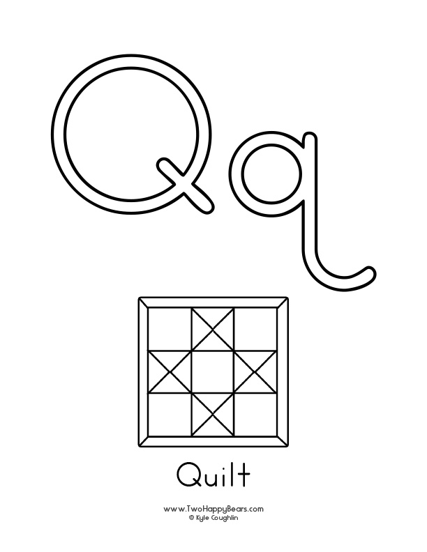 Free printable coloring page for the letter Q, with upper and lower case letters and a picture of a quilt to color.
