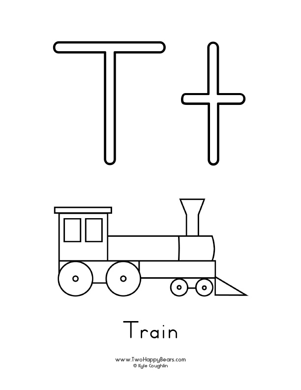 Free printable coloring page for the letter T, with upper and lower case letters and a picture of a train to color.