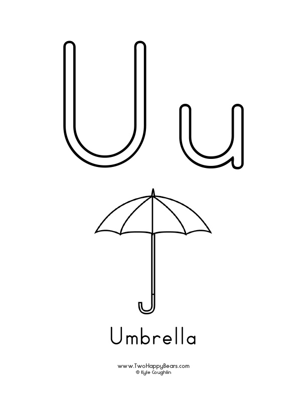 Free printable coloring page for the letter U, with upper and lower case letters and a picture of an umbrella to color.