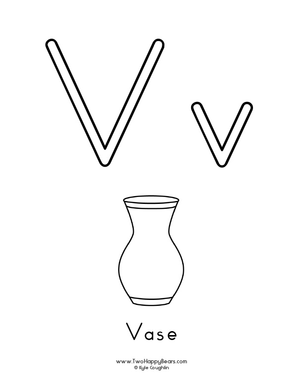 Free printable coloring page for the letter V, with upper and lower case letters and a picture of a vase to color.