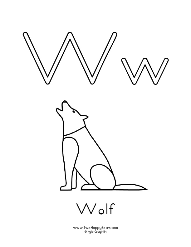 Free printable coloring page for the letter W, with upper and lower case letters and a picture of a wolf to color.
