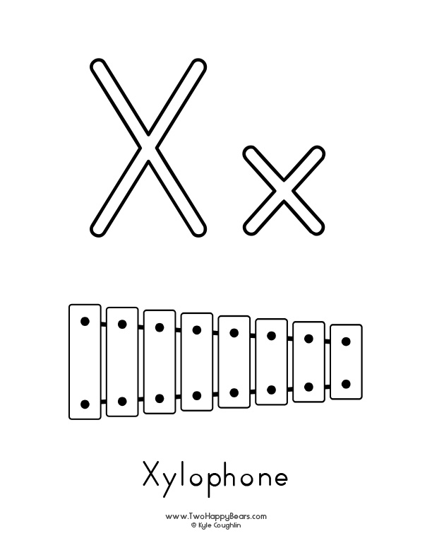 Free printable coloring page for the letter X, with upper and lower case letters and a picture of a xylophone to color.