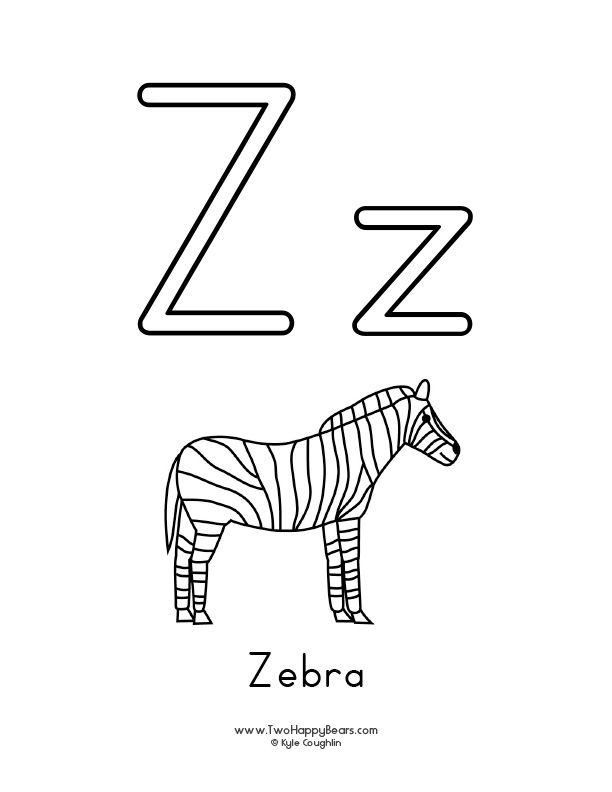 Free printable coloring page for the letter Z, with upper and lower case letters and a picture of a zebra to color.
