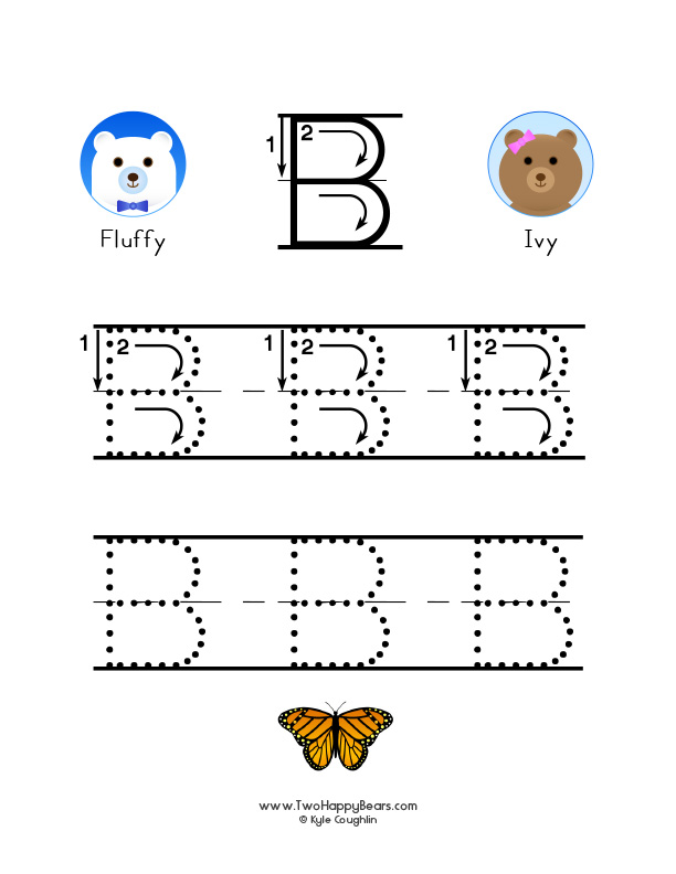 Printable Worksheets letter a and b worksheets : Learn the letter B with Fluffy and Ivy