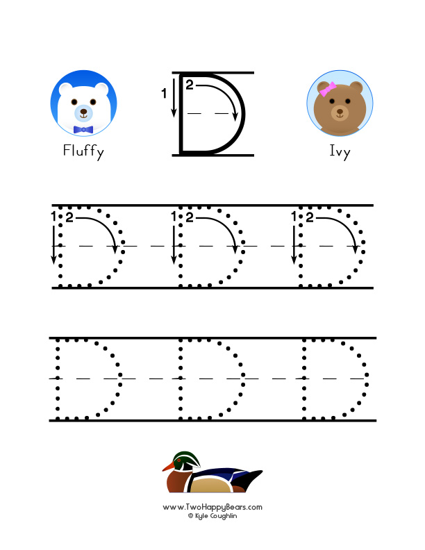 How to write the letter D, with large images to trace for practice, in free printable PDF format.