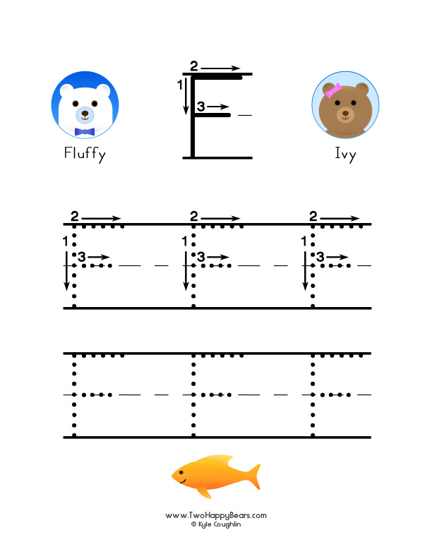 How to write the letter F, with large images to trace for practice, in free printable PDF format.