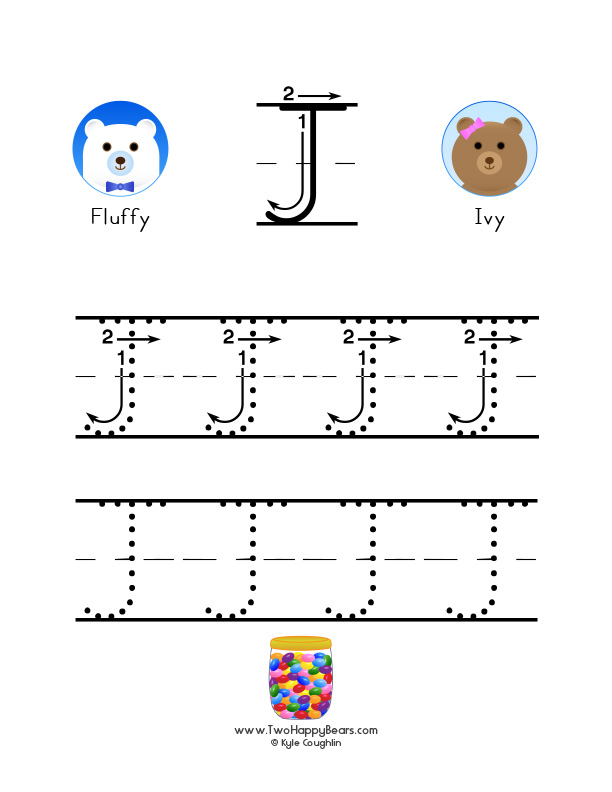 How to write the letter J, with large images to trace for practice, in free printable PDF format.