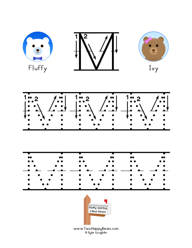 How to write the letter M, with large images to trace for practice, in free printable PDF format.