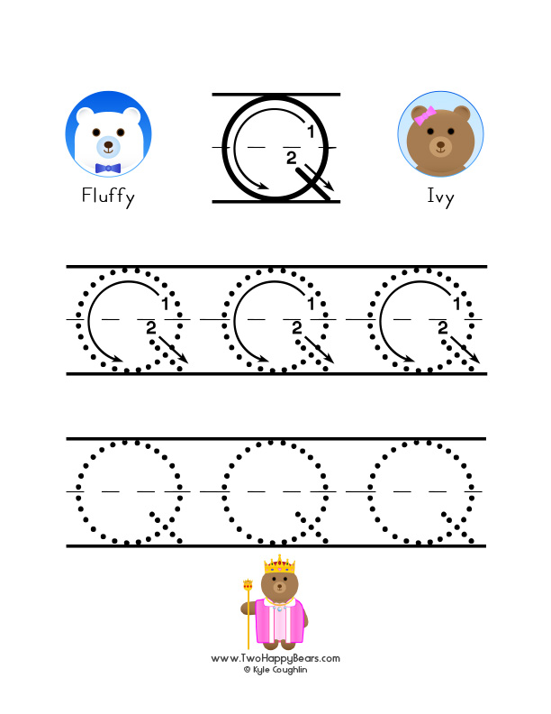 Learn the letter q with fluffy and ivy how to write the letter q with large images to trace for practice expocarfo Images