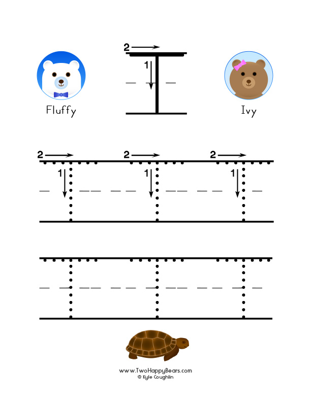 How to write the letter T, with large images to trace for practice, in free printable PDF format.