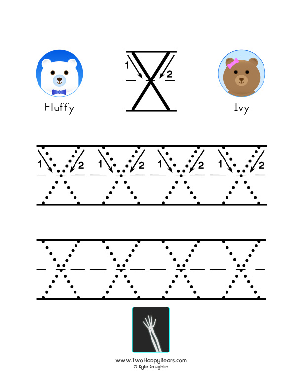 How to write the letter X, with large images to trace for practice, in free printable PDF format.