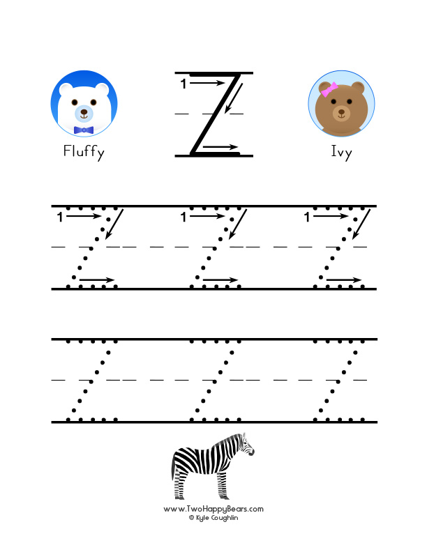 How to write the letter Z, with large images to trace for practice, in free printable PDF format.